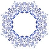 Round flower frame gzhel style isolated on white. Blue floral pattern. Stock Photography