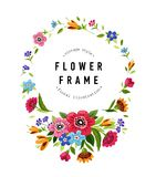 Round flower frame. Template for invitation, greeting card, cover, notebook. Colorful summer flower wreath. Vintage style Royalty Free Stock Images