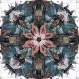 ROUND FLOWER MANDALA, IN CORAL, BLUE, GREEN, GRAY WITH GRAY AND WHITE ABSTRACT BACKGROUND royalty free illustration