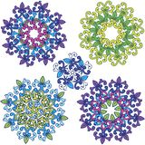 Round flower Ornament Pattern. Set of colorful mandalas. stock photography