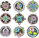 Round flower ornamental decorations Royalty Free Stock Photos