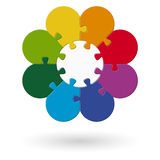 round flower puzzle colored vector illustration