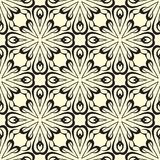 Round flowers vector seamless pattern background illustration in black and white Stock Photos