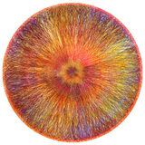 Round fluffy carpet with weave  grunge striped centrifugal colorful pattern Royalty Free Stock Images