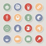 Round Food Icons. Vector Illustration Stock Photography