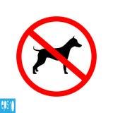 Round forbidden animal sign, icon on white background, red thin line on white background - vector illustration stock photo