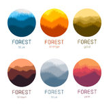 round forest vector logo set. Gold forest silhouette logotypes collection. Stock Photo