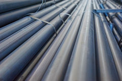 Round form metal pipe stacked Stock Photos