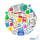 Round formed banner of school objects for design stock photos