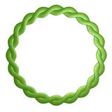 Round frame. Is twisted out of leather is green Stock Photo