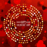 Round frame from abstract glowing hearts. Vector holiday backgro Stock Photos
