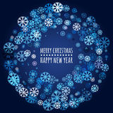 Round frame from abstract glowing snowflakes. Vector holiday background. Christmas or New Year greeting card, invitation vector illustration