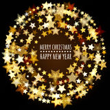 Round frame from abstract glowing stars. Vector holiday background. Christmas or New Year greeting card, invitation vector illustration
