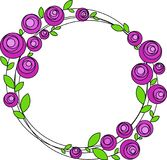 Round frame with stylized pink flowers, vector stock photography
