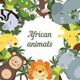 Round frame with African animals Stock Photo