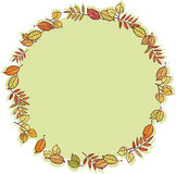 Round frame with autumn leaves Stock Photo