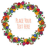 Round frame autumn leaves berries seed garland Stock Photography