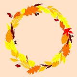 Round frame with autumn leaves Royalty Free Stock Photos