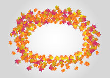 Round frame of autumn leaves Stock Photo