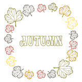 Round frame of autumn leaves Royalty Free Stock Image