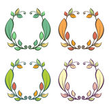Round frame with autumn and summer leaves. Vector illustration Royalty Free Stock Image