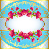 Round frame background with flowering cherry blossom Royalty Free Stock Images