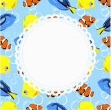 Round frame on a background in marine style with a beautiful aqu. Arium fish. template for photo frame or album, or congratulations. vector illustration Stock Photos
