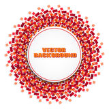 Round frame on a background of red sparkles. Round frame for your text on abstract background with red sparkles or confetti.Can be used for holiday flyers vector illustration