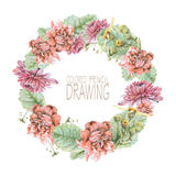 Round frame with beautiful spring flowers and plants Stock Image