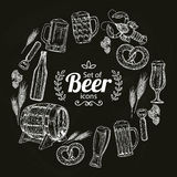 Round frame with beer icons on black background. Sketch style illustration of beer. Vintage beer glasses, bottles and barrels. Beer drawing for pub or bar menu Royalty Free Stock Images