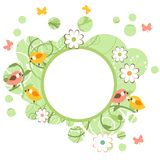 Round frame with birds and flowers Stock Photos
