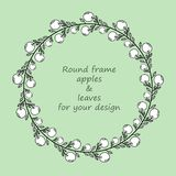Round frame with black and white doodle apples and leaves. Wreath for design with place for your text.Decoration for greeting card,wedding invitation,save the royalty free illustration