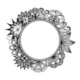Round frame with black and white doodle flowers Royalty Free Stock Images