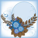 Round frame with blue flowers Stock Photography