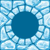 Round frame on blue Ice seamless pattern Royalty Free Stock Photography