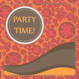 Round frame of brown color over hand drawn elements seamless background. Childish Party Poster. Flyer, Greeting Card. Invitation, Menu Design Template. Vector Stock Images