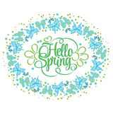 Round frame of butterflies. Hello Spring lettering. Colorful Vector illustration Royalty Free Stock Image