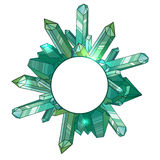 Round frame with cartoon crystals and and place for text Royalty Free Stock Photos