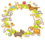 Round Frame with Cartoon Dogs Stock Photography