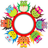 Round frame with cartoon owls Stock Photos