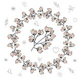 Round frame with cherry buds and flowers vector illustration