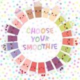 Round frame Choose your smoothies. card design Takeout smoothie blueberry raspberry strawberry kiwi apple blackberry cherry chocol Royalty Free Stock Photos