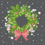 Round frame for Christmas cards and winter design. Flowers,branches,leaves set with snowflake. Stylized floral in retro style. Col Royalty Free Stock Photos