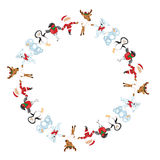 Round frame with Christmas characters dancing Stock Photos