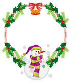 Round frame with Christmas decorations and snowman. Stock Photography