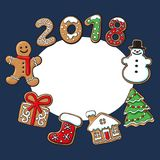 Round frame of Christmas gingerbread cookies. Round frame of homemade gingerbread cookies - Christmas elements and 2018 numbers, sketch vector illustration Stock Photo