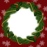 Round frame for Christmas with gold beads Royalty Free Stock Photo
