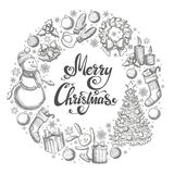 Round frame with Christmas icons. Monochrome sketch style Christmas illustration for decoration. Vector Royalty Free Stock Photos