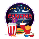 Round frame with cinema symbols. Vector illustration isolated on white background. Round frame with cinema symbols - popcorn bucket, ticket, 3d glasses, cup of Royalty Free Stock Photography