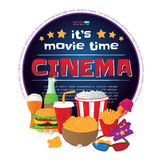 Round frame with cinema symbols. Vector illustration isolated on white background. Round frame with cinema symbols - popcorn bucket, ticket, 3d glasses, cup of Royalty Free Stock Images
